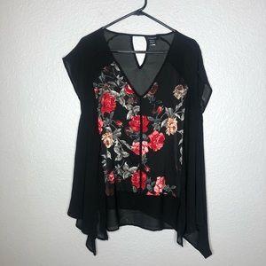 Torrid black red rose sheer back keyhole blouse